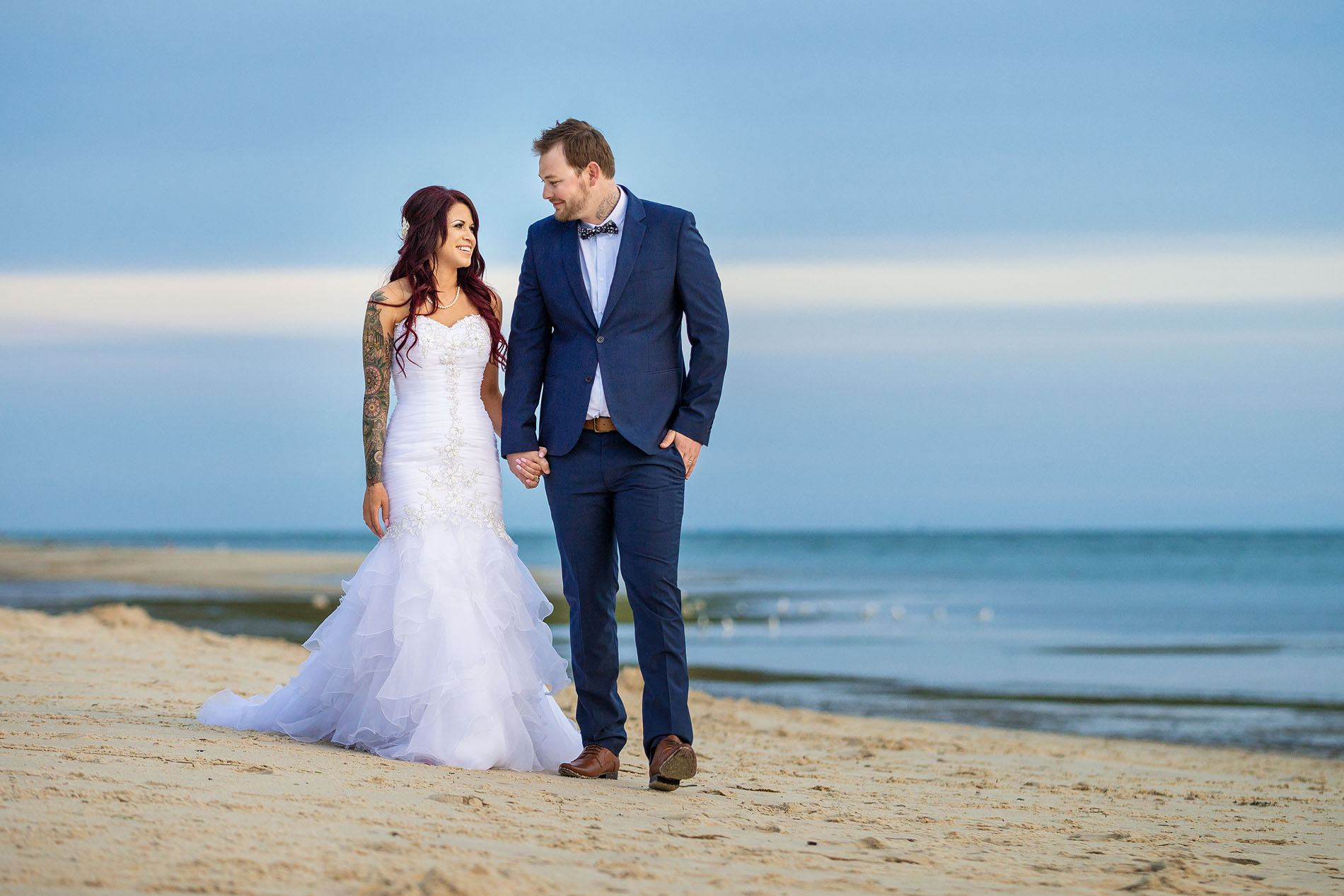 170909 0653 bribie island bongaree jetty tattoo tats tattooed bride beach modern couple blue
