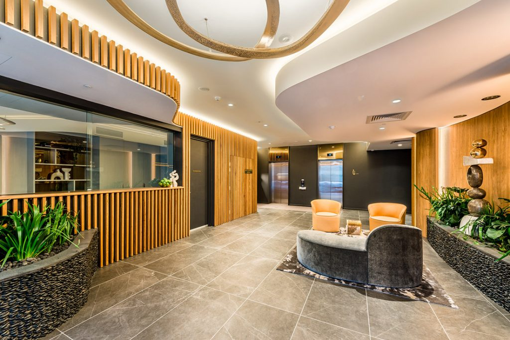 180929 0050 Edit lobby design foyer high rise residential new real estate development photography brisbane aria valencia residences interior