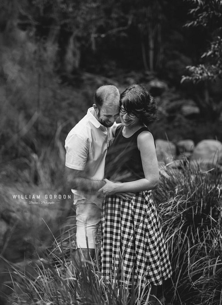 190303 0066 2 wedding photographer brisbane engagement samford moreton bay rocky creek stream bushes black white