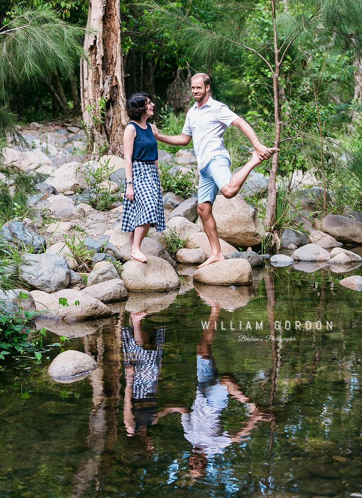 190303 0076 wedding photographer brisbane engagement samford moreton bay rocky creek stream stretch funny