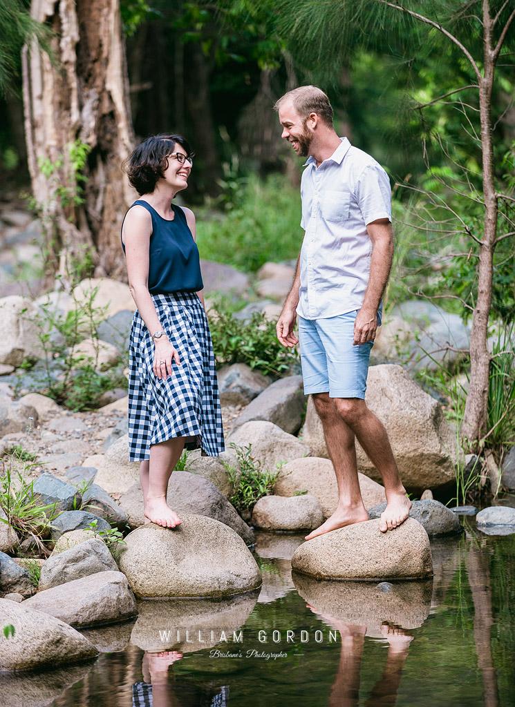 190303 0078 wedding photographer brisbane engagement samford moreton bay rocky creek stream laugh edge