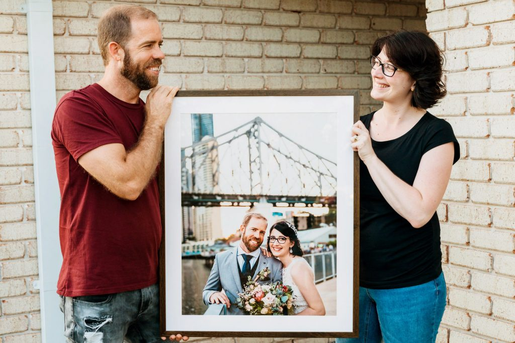 WG1 3916 wedding print frame howard smith wharves brisbane story bridge light