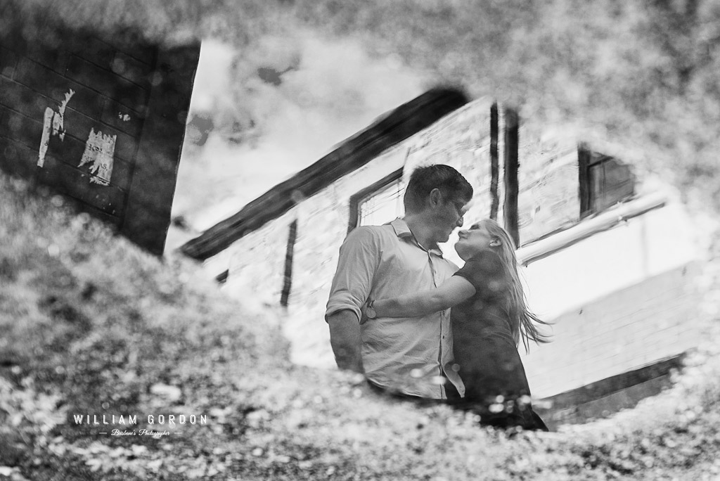 180908 0113aa toowoomba engagement couple shoot inspiration laneway puddle reflection black white bw arty creative flip flipped idea